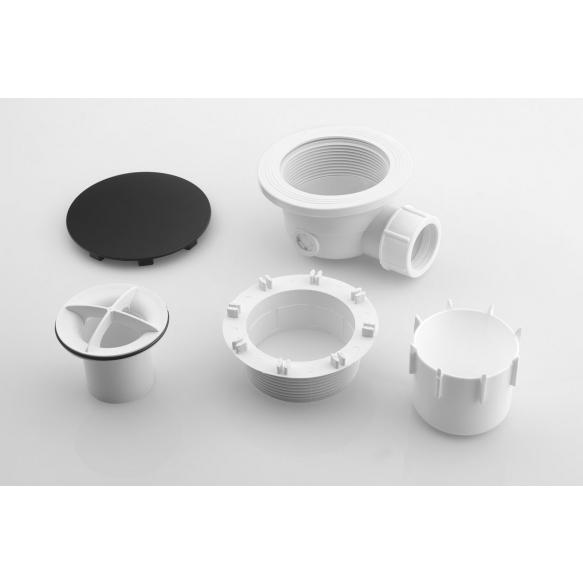 shower tray siphon, 90mm, black mat