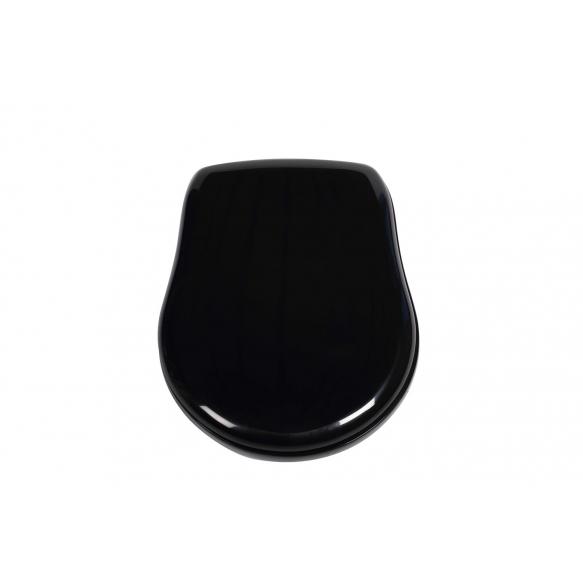 Kerasan Retro black soft close seat cover, golden hinges