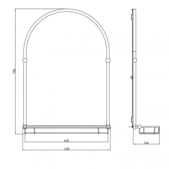 riiuliga peegel Tiga 48x67 cm, pronks viimistlus