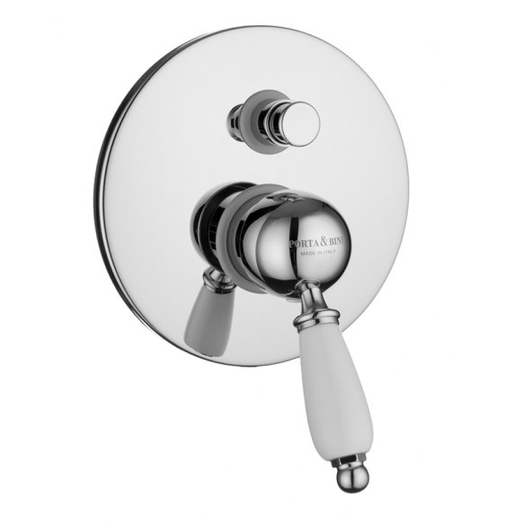 built-in shower mixer with diverter New Old, chrome, white lever