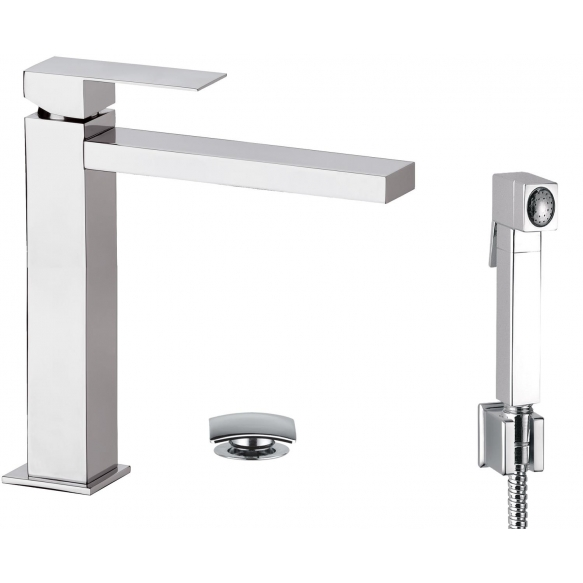 high basin mixer Sky Square with bidet spray and click-clack pop-up waste, chrome