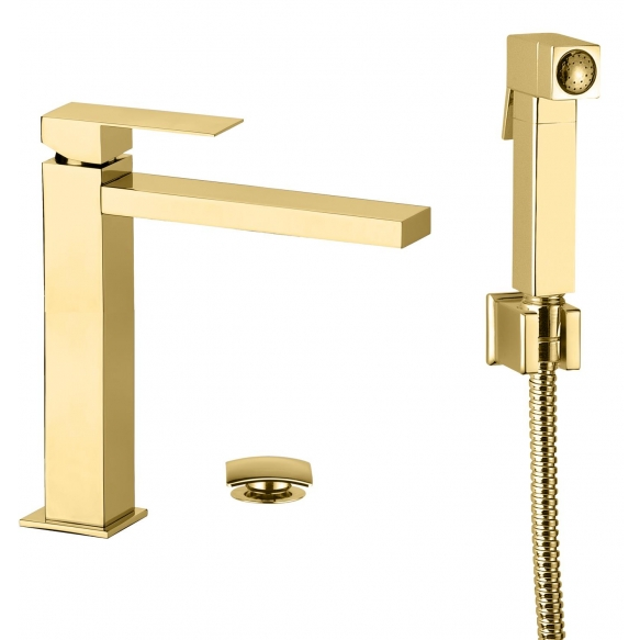 high basin mixer Sky Square with bidet spray and click-clack pop-up waste, shiny gold