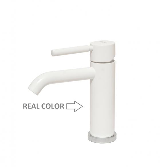 high basin mixer Suvi Round with bidet spray and click-clack pop-up waste, mat white