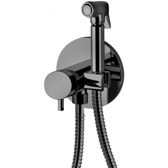built in bidet mixer Suvi Round, mat black (hot and cold water connection)