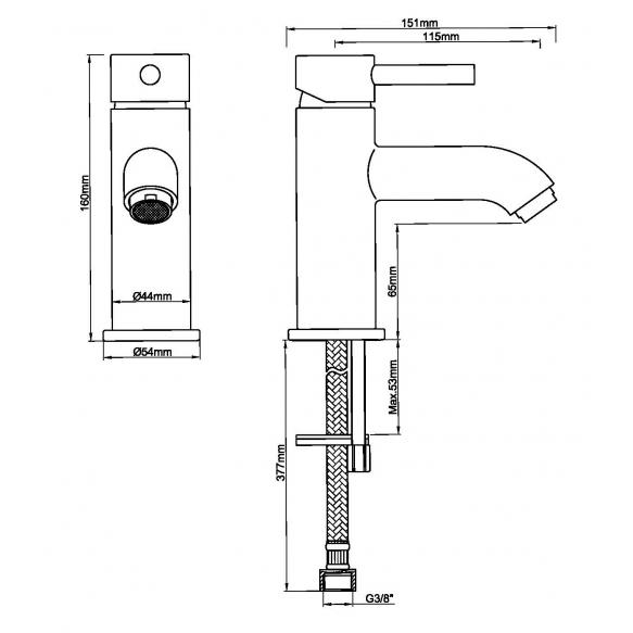 Cadans KIWA basin mixer low gunmetal (antrachite) , without click-clack