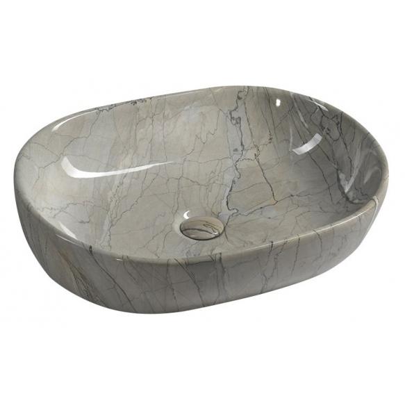 keraamiline valamu Dalma, 59x42x14 cm, hall, põhjaklapp ei kuulu komplekti