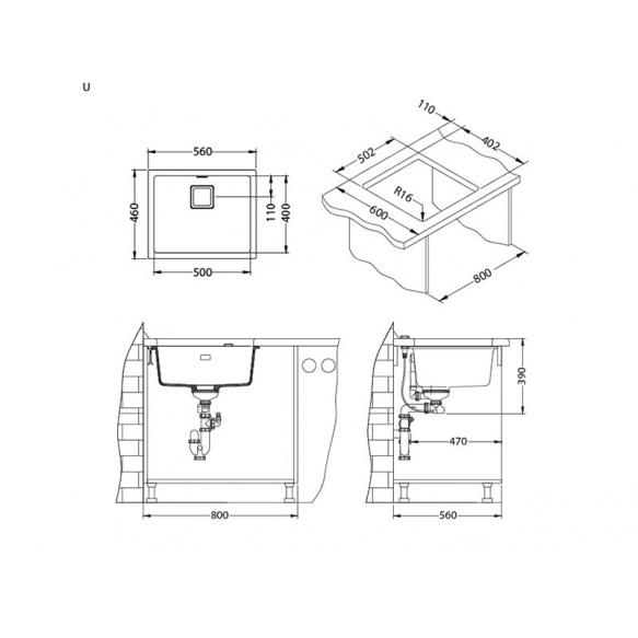kivimassist köögivalamu Alveus Quadrix 50, steel G04M, kuldsed fitingud ( 1108037 + 1127152 + 1103421 + 1110854)