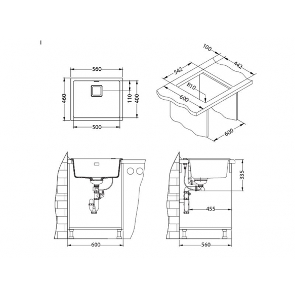 kivimassist köögivalamu Alveus Quadrix 50, pebble G02M, vask fitingud ( 1108035 + 1127155 + 1105242 + 1113996)