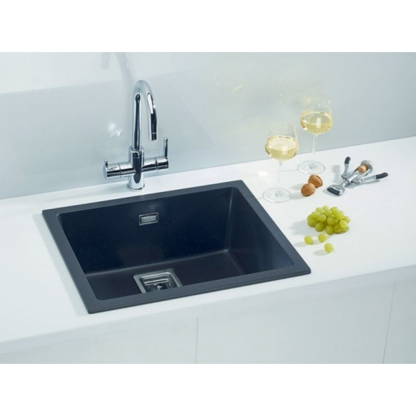 SINK ALVEUS QUADRIX 50 Twilight G05M P-U, with stainless steel color fitings (1108038 + 1133398)