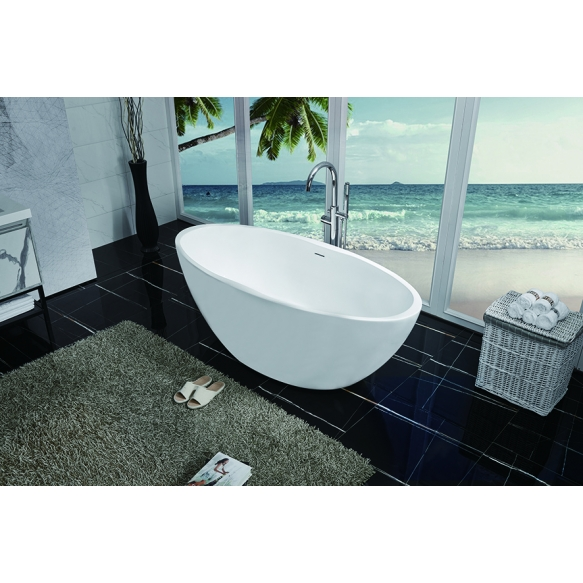 Oval freestanding acrylic bathtub 170x78 matt white