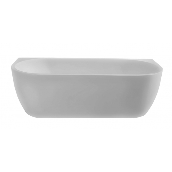 Wall semi-freestanding bath acrylic bathtub 180x80 matt white