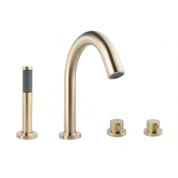 Caral 4-holes bath thermostat finishing set brushed brass