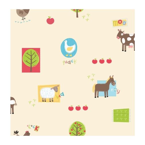 Hoopla Farm Animals Sidewall Multi dark