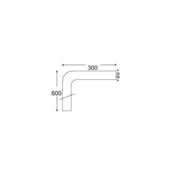 sifooni põlv pronks 32 mm, kroom, 600x300 mm