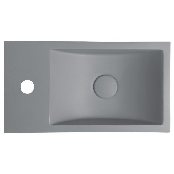 betoonist valamu Crest L, 40x22x10 cm, hall, komplekti kuulub põhjaklapp