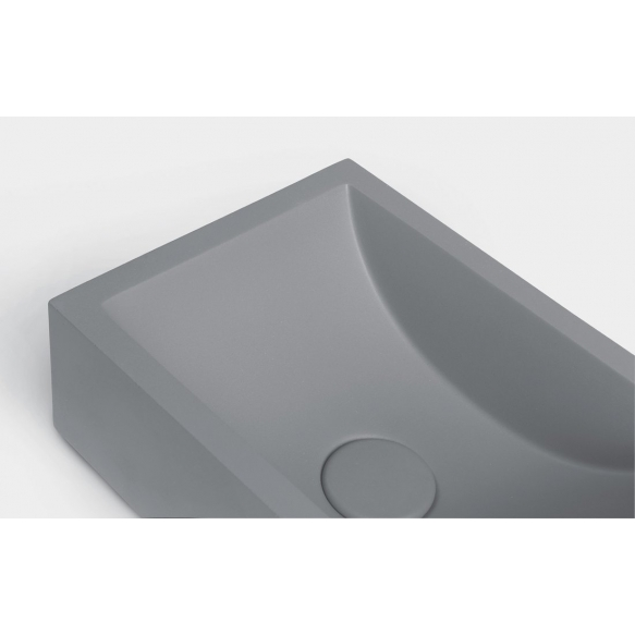 betoonist valamu Crest R, 40x22x10 cm, hall, komplekti kuulub põhjaklapp