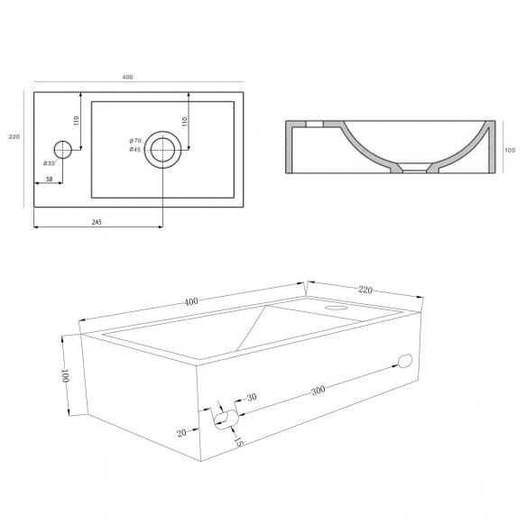 betoonist valamu Crest L, 40x22x10 cm, hõõrutud hall, komplekti kuulub põhjaklapp