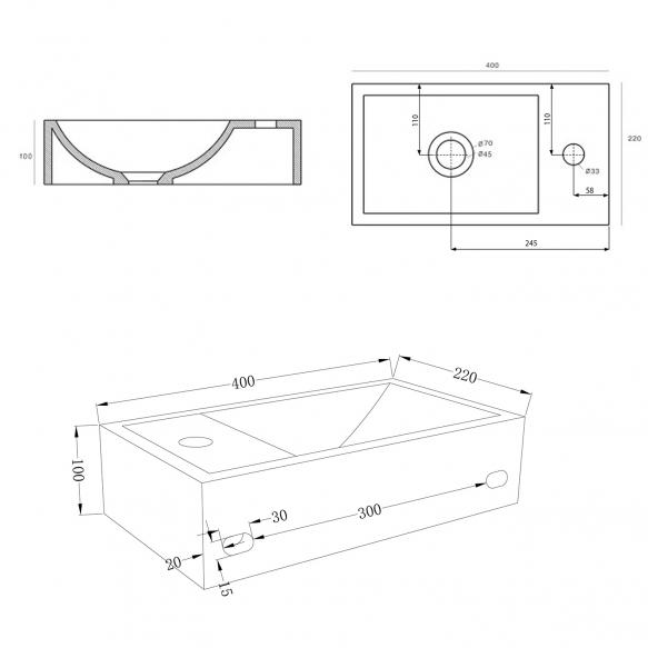 betoonist valamu Crest R, 40x22x10 cm, hõõrutud hall, komplekti kuulub põhjaklapp