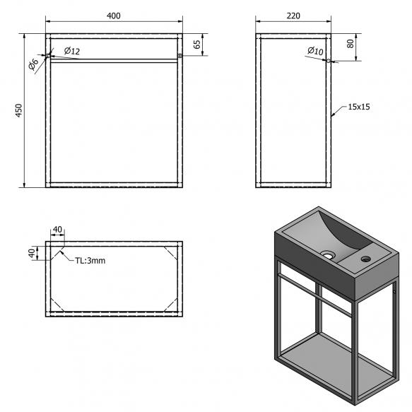 metallist valamukonstruktsioon Crest 40x45x22 cm, MDF riiuliga