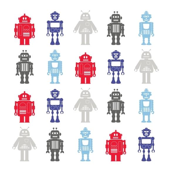 Hoopla Robots SidewallNavy