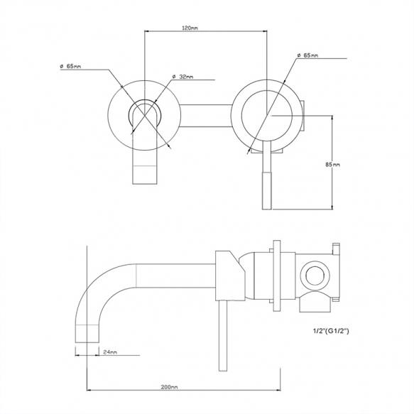 built-in basin mixer Cherry, black mat