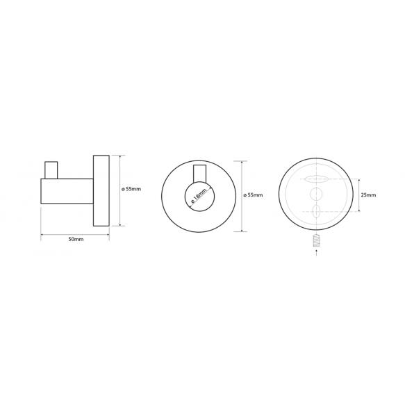 X-STEEL Robe Hook, brushed stainless steel