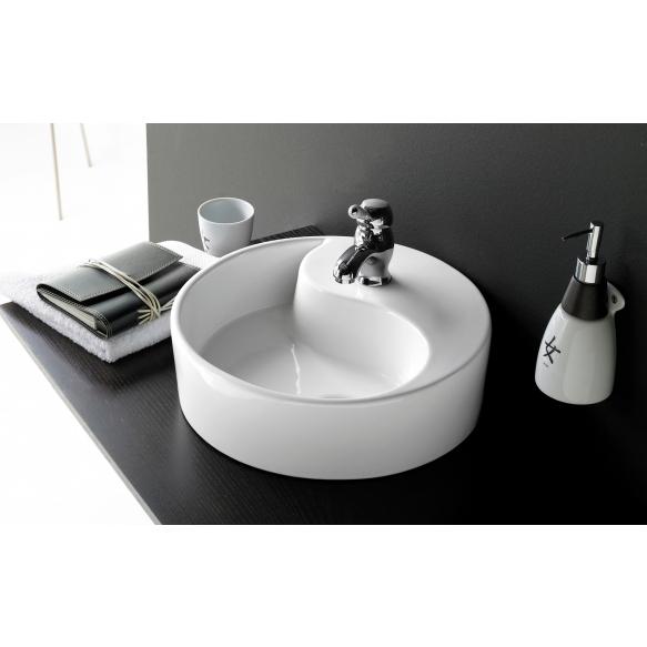 ceramic basin Yin Yang, white