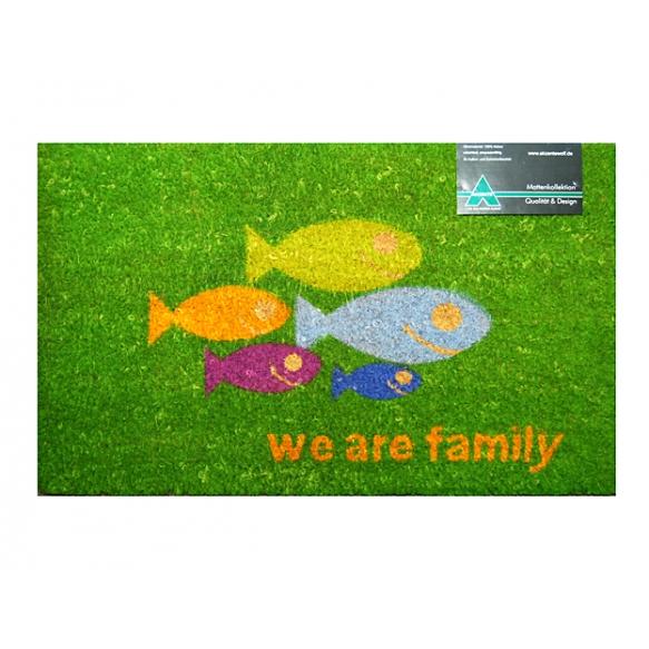 Door matt Fish Family, kokosmat 45x75cm