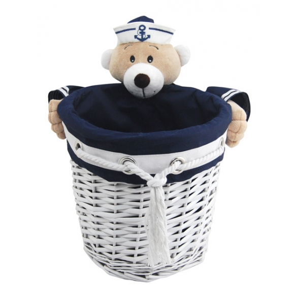 Basket Captain Bear L round d28 x26x22cm
