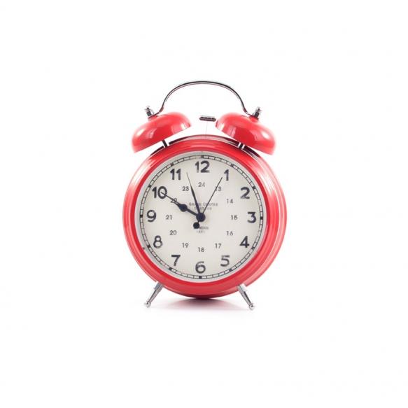 "5""H Poppy Red Alarm Clock"