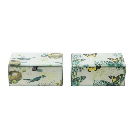 "5-1/4""L Glass Box w/ Bird Decal, 2 Styles"
