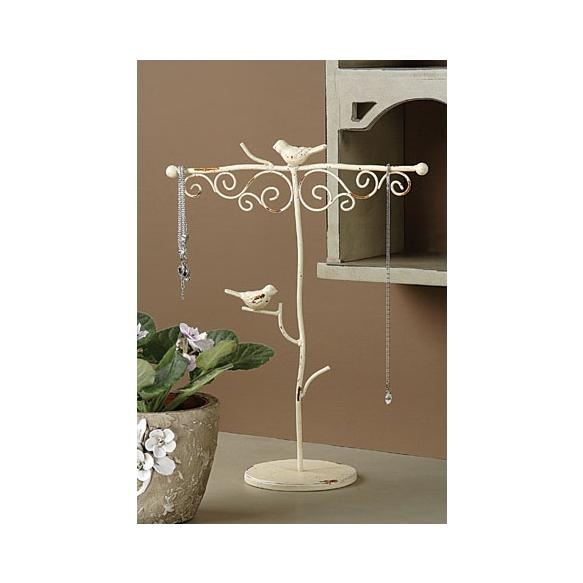 "13""H Metal Jewelry Holder w/ Birds, Cream"