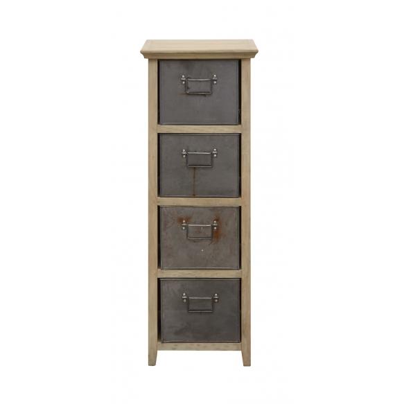 "13-1/2""L x 14""W x 41""H Mango Wood Cabinet w/ 4 Metal Drawers, Imported"
