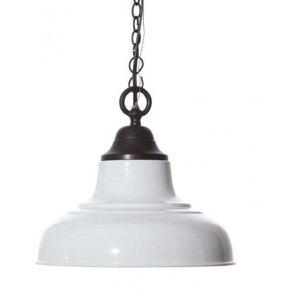 "13"" Round x 12""H Metal 2-Tone Hanging Pendant Lamp, White Enamel & Bronze Finish, Imported"