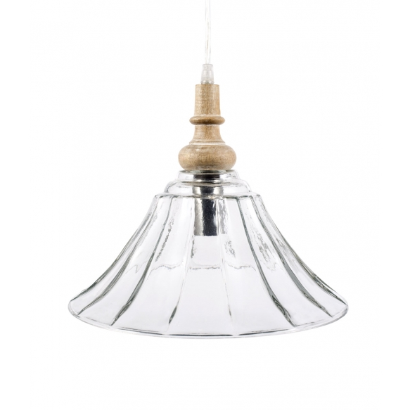 "11-1/2""L x 11-1/2""W x 9-1/4""H  Wood and Glass Pendant Lamp, Imported"