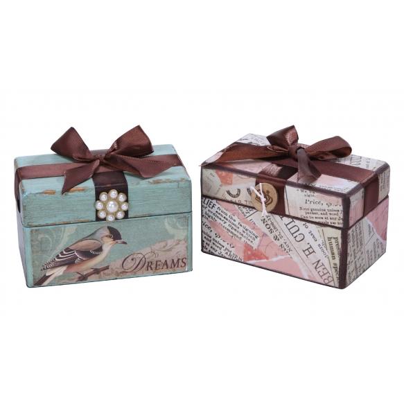 "5""L Pine & MDF Box w/ Velvet Liner & Ribbon, 2 Styles"
