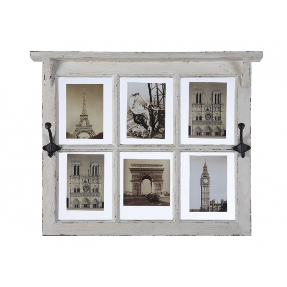 "24""L x 19""H Poplar & Glass Window Pane Photo Holder w/ 2 Hooks, Holds 6 - 5""x7"" Photos, Distressed White"