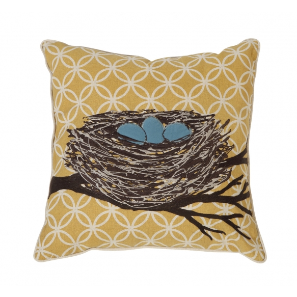 """18"""" Square Cotton & Linen Pillow w/ Embroidered Nest ©"""