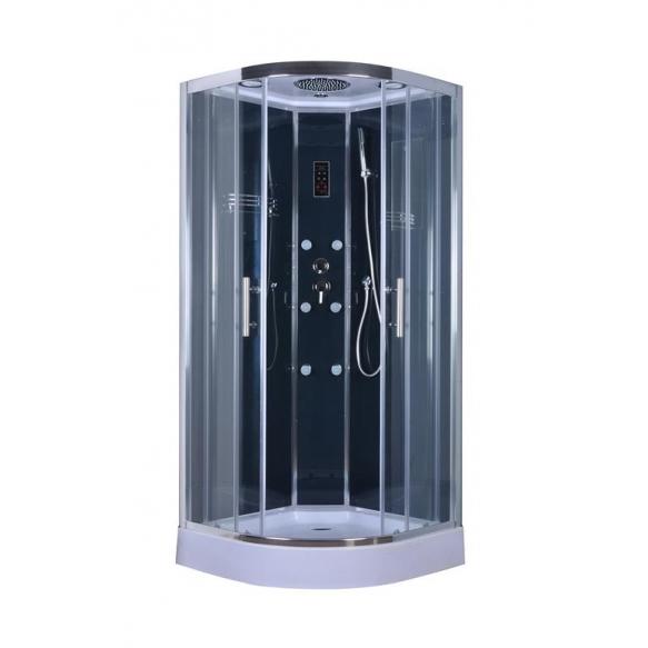 massage cabin 90X90X215 cm, low tray, dark back glass