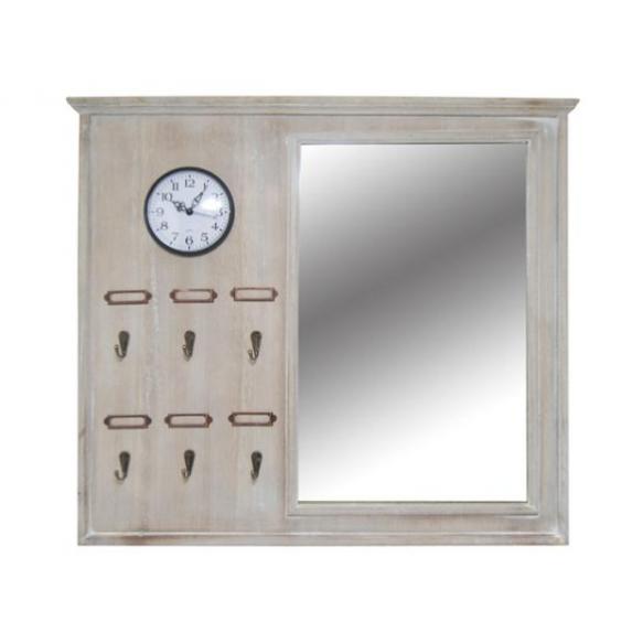 Mirror with clock, grey, 63x56cm