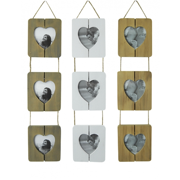 Photo frame  Heart for 3pictures, wooden, 3 col. 12x50cm