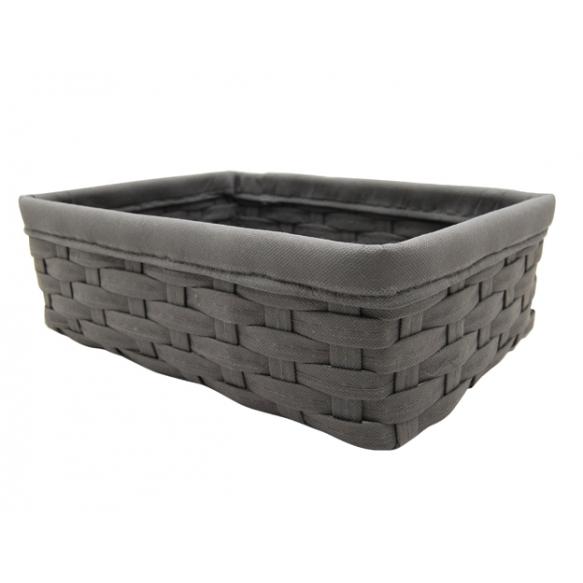 Woven basket Tami, dark grey, 38x28x14cm