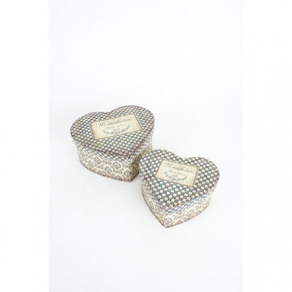 SET OF 2 PATTERNED HEART SHAPED BOXES