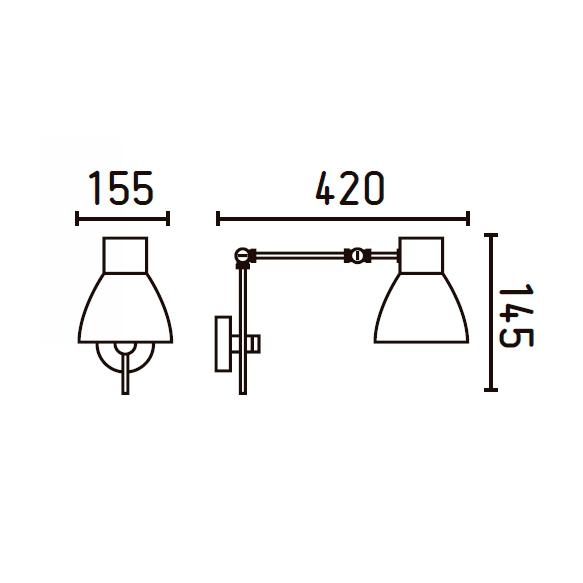 CELIA Black wall lamp ,metal+steel,  1 x E14 20W