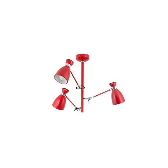RETRO Red ceiling lamp, metal,3 x E14 20W