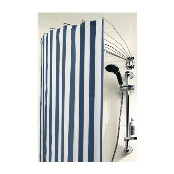 Foldable shower curtain rod, Umbrella, chrome, stainless steel