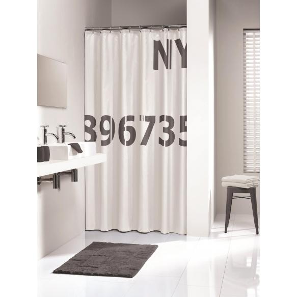 DIGITS shower curtain textile, white/grey, 180x200
