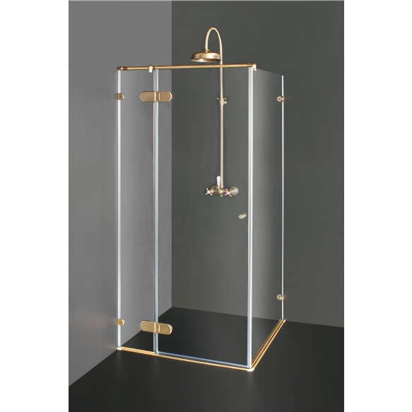 Shower enclosure NORA  PLUS with bronzed fittings , clear glass