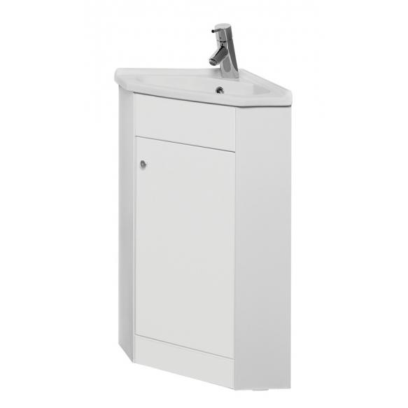 cabinet w basin ,corner mount, white high gloss MDF