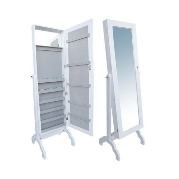 Large mirror cabinet, white leather 44x9x165cm